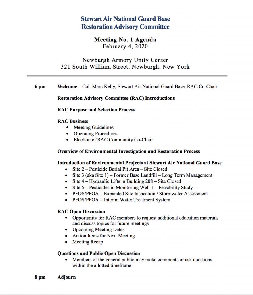 SANG RAC Meeting 1 Agenda