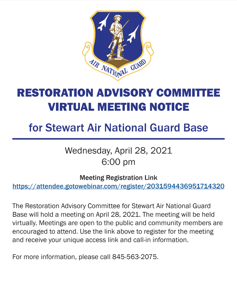 Stewart Air National Guard Newburg Restoration Advisory Committee (RAC) Online Public Meeting - April 28, 2021